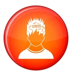 Word stress in the head of man icon flat style vector