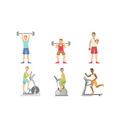 Young men doing fitness exercises in gym set guys vector