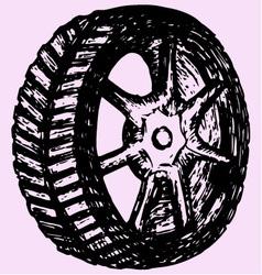 Car wheel tire vector image vector image