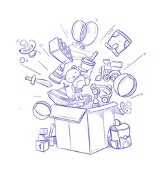 doodle shopping box with lot of childrens toy and vector image
