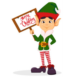elf holding placard with greetings vector image vector image