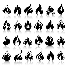 Fire flames set icons with reflection vector image vector image
