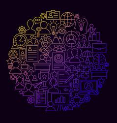 Human resources line icon circle concept vector