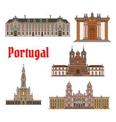 portuguese travel landmark thin line icon set vector image vector image