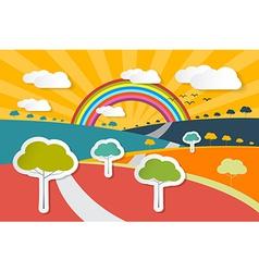 Retro Landscape - Rural Paper Background wit vector image vector image