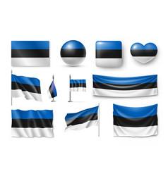 set estonia flags banners banners symbols flat vector image vector image