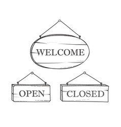 welcome open closed plank sign set vintage doodle vector image vector image