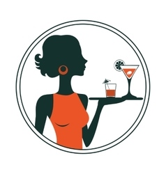 An of a waitress holding cocktails vector image vector image