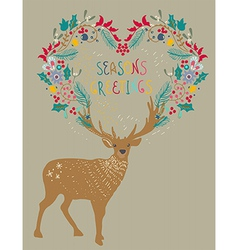 Christmas background with deer and floral holiday vector