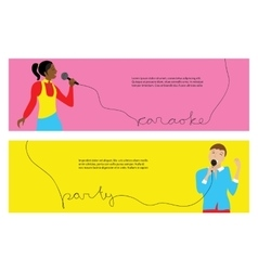 Man and woman singing into microphone vector image vector image