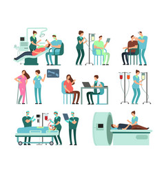 medical doctors and patients in clinic vector image