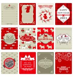 Set of Vintage Christmas Tags vector image