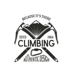 vintage climbing badge climbing logo vintage vector image vector image
