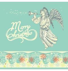 Christmas angel greeting card vector image vector image