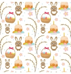 Easter seamless pattern with rabbit egg basket vector image vector image