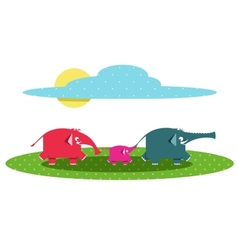Funny Graphic Elephants Family vector image