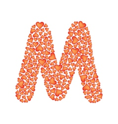 letter m made of valentines vector image vector image