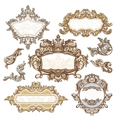 set of royal vintage frames vector image