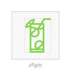 icon of cocktail with modular grid mojito vector image vector image