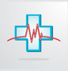medical cross with heart rhythm vector image