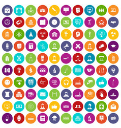 100 conference icons set color vector image