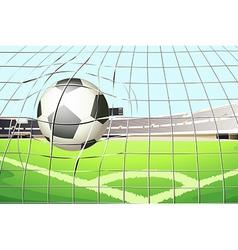 A ball hitting soccer goal vector