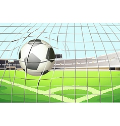 A ball hitting the soccer goal vector image
