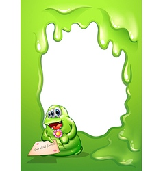 A border with a fat green monster holding a card vector image