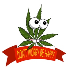 A cartoon marijuana smiling and happy vector