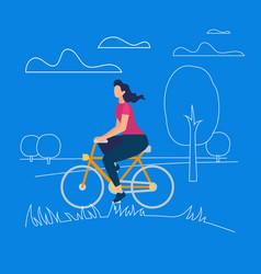 active stylish girl enjoying bicycle ride open air vector image