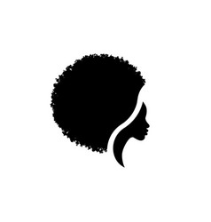 African american woman face profile and afro curly vector
