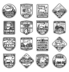 agriculture farming icons cattle and poultry farm vector image