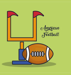 American football goal post and ball vector
