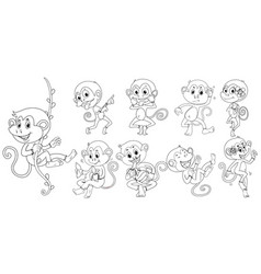 Animal outline for monkeys in different actions vector