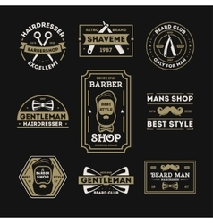 Barber shop vintage isolated label set vector