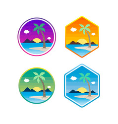 beach time tropical island summer vacation set vector image