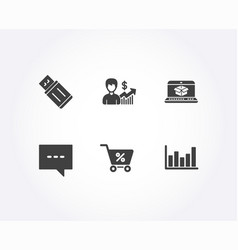 Blog online delivery and business growth icons vector