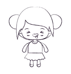 blurred thin silhouette of kawaii little girl with vector image