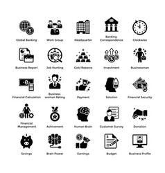 business and finance glyph icons set 7 vector image