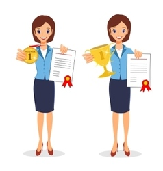 Business woman winner set Cheerful lady holding vector image