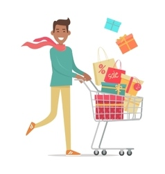 Buying Gifts on Sale in Flat Design vector