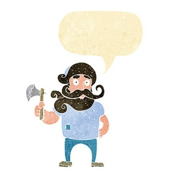Cartoon lumberjack with axe with speech bubble vector