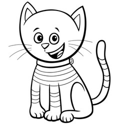 cat or kitten comic character coloring book page vector image
