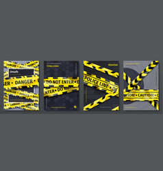 Caution tape posters set banners with yellow vector