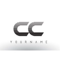 Cc c c black and white horizontal stripes letter vector