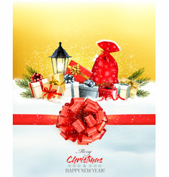 christmas presents with a garland and a gift vector image