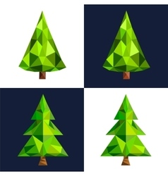 Christmas tree flat 3d lowpoly pixel art icon vector