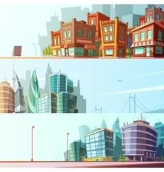 City Skyline 3 Horizontal Banners Set vector