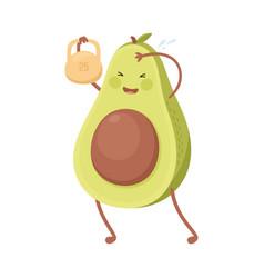 Cute avocado lifting kettlebell funny fruit vector
