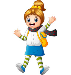 cute student wearing scarf waving vector image